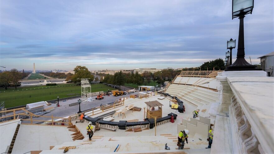 Construction on the West Front of the U.S. Capitol building for the 59th inaugural ceremonies, Nov. 13, 2020. Credit: Architect of the Capitol.