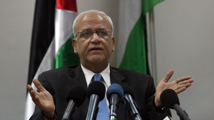 Saeb Erekat during a news conference in Ramallah on the West Bank on January 2, 2012.photo by Issam Rimawi/ FLASH90