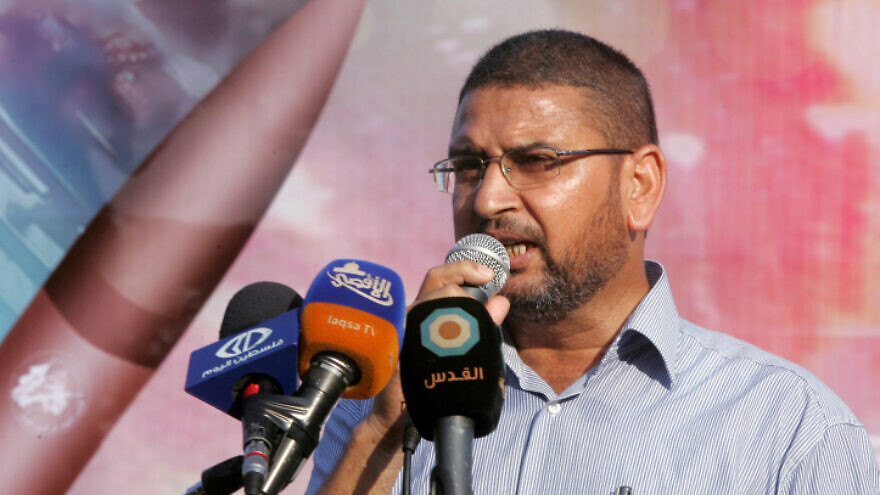 Hamas spokesman Sami Abu Zuhri speaks at a rally in Gaza on Aug.18 2014. Photo by Abed Rahim Khatib/Flash90.