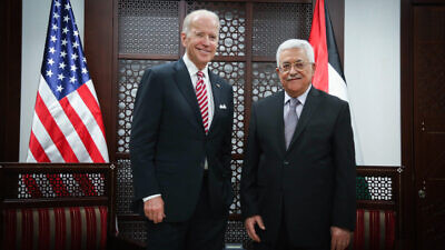 U.S. Vice President Joe Biden meets with Palestinian Authority leader Mahmoud Abbas in Ramallah on March 9, 2016. Photo by Flash90.