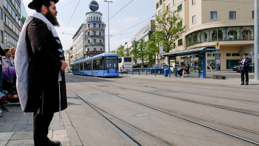 A Jewish man waiting on the streets in Munich, Germany on May 5, 2018. Photo by Nati Shohat/Flash90.