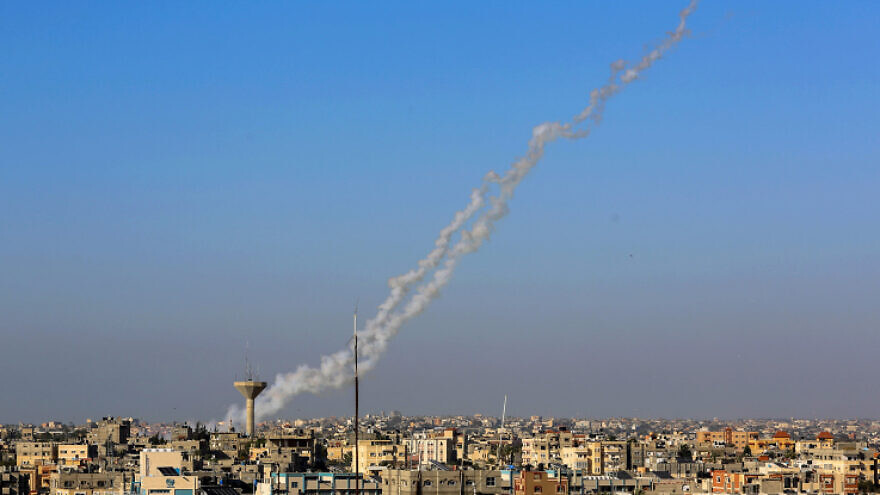 Smoke trails are seen as a rocket is launched at Israel from Rafah in the southern Gaza Strip on May 4, 2019. Photo by Abed Rahim Khatib/Flash90.