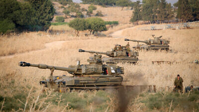 Israeli army forces stationed near the border between Israel and Lebanon in the Golan Heights on July 27, 2020. Photo by David Cohen/Flash90.