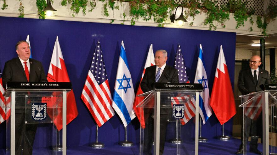 U.S. Secretary of State Mike Pompeo alongside Israeli Prime Minister Benjamin Netanyahu and Bahrain's Foreign Minister Abdullatif bin Rashid Al-Zayani at a press conference after their trilateral meeting in Jerusalem on Nov. 18, 2020. Photo by Menahem Kahana/POOL.