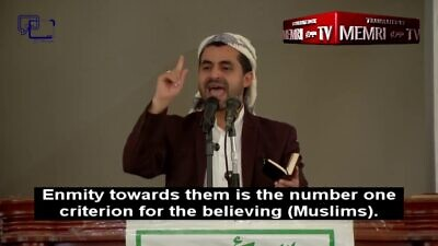 Houthi politburo member Abd al-Wahhab al-Mahbashi delivers a sermon on March 20, 2020. (MEMRI)