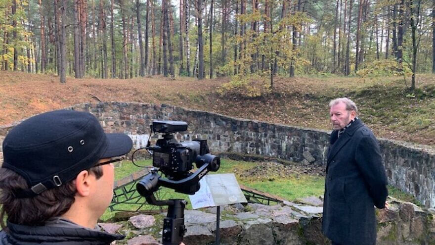Filmmaker Jeff Hoffman interviewing Dudu Fisher in Latvia in October during filming of 'The Baltic Truth.' Courtesy Squashhouse Media.