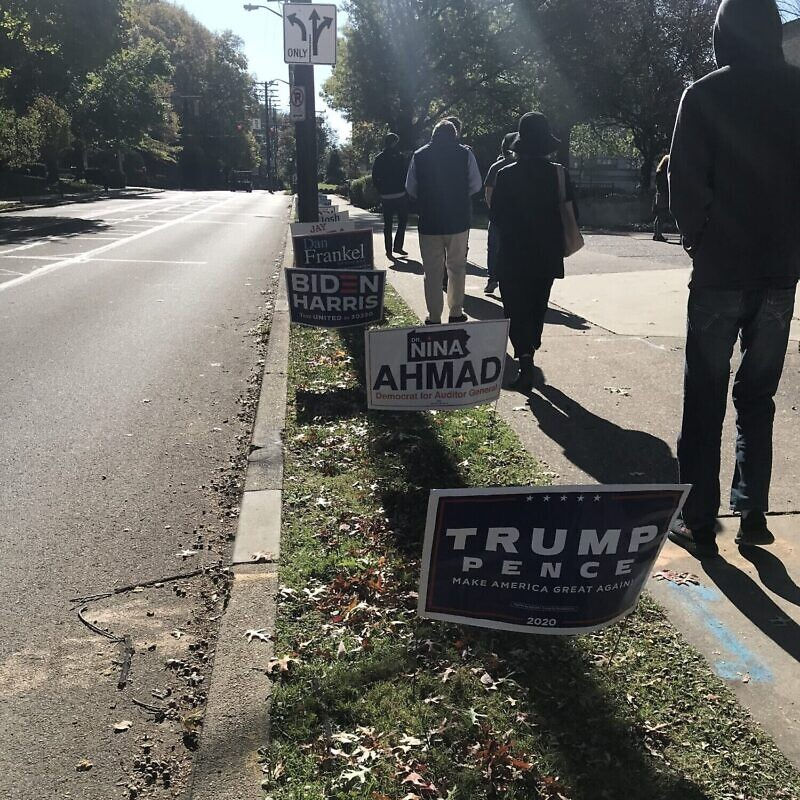 Rodef Shalom Congregation polling site in Pittsburgh, Pa. Photo by Heather Robinson.