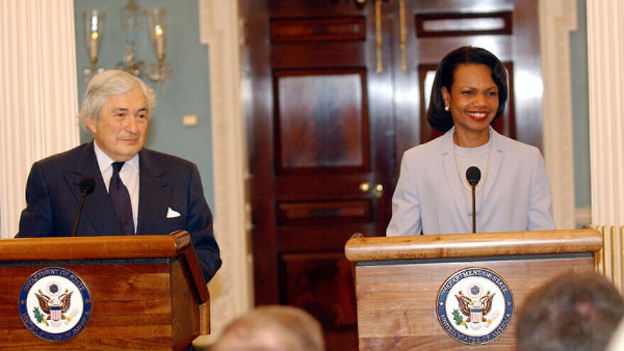 U.S. Secretary of State Condoleezza Rice and U.S. Special Envoy for Gaza Disengagement James D. Wolfensohn speak to the press after their meeting on May 1, 2006. Credit: U.S. State Department Photo by Michael Gross via Wikimedia Commons.