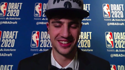 Israel's Deni Avdija speaking to the press shortly after being drafted by the Washington Wizards. Source: Screenshot.