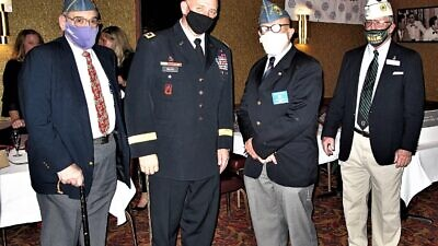 From left: Jewish War Veterans Chief of Staff Robert Nussbaum, Maj. Gen. of the Minnesota National Guard Shawn Menke, JWV National Commander Jeffrey Sacks and Department Commander of Wisconsin Kim Queen. Credit: Courtesy of Jewish War Veterans.