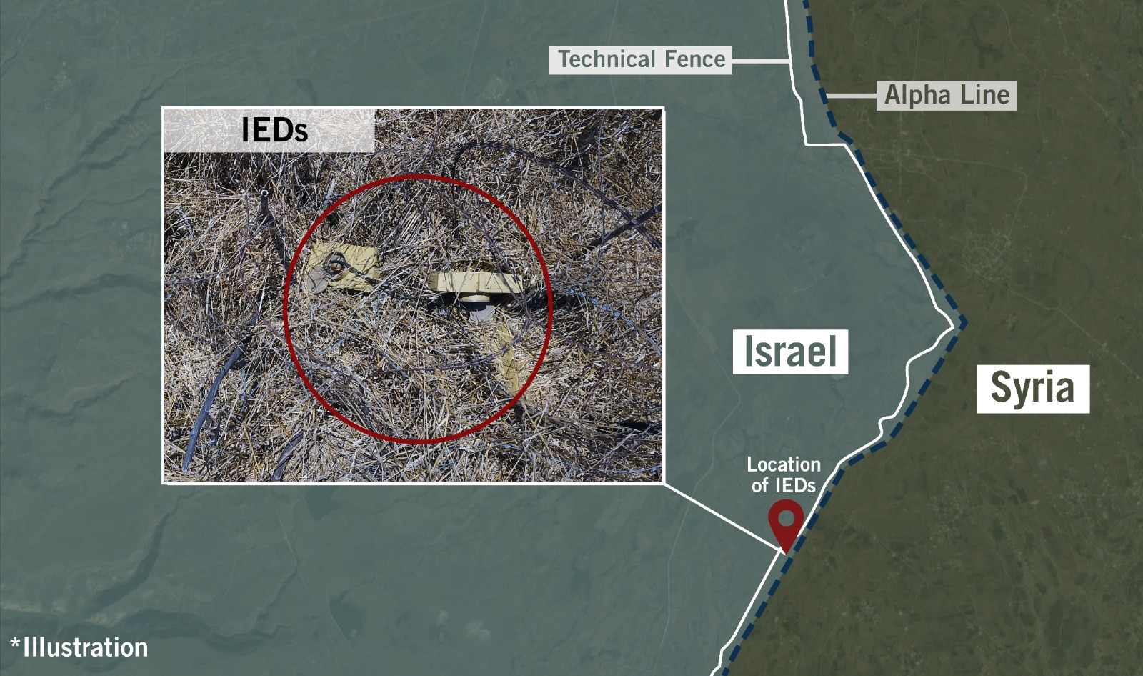 A map depicting the location of IEDs uncovered by the IDF along the border with Syria in the Golan Heights. Credit IDF Spokesperson's Unit