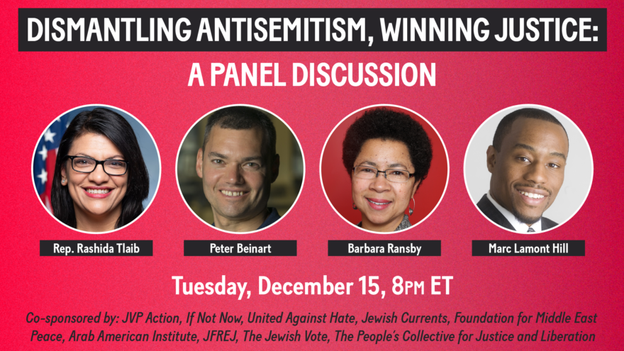 The Jewish Voice for Peace ad for its panel discussion on anti-Semitism, scheduled for Dec. 15, 2020. Source: Facebook.