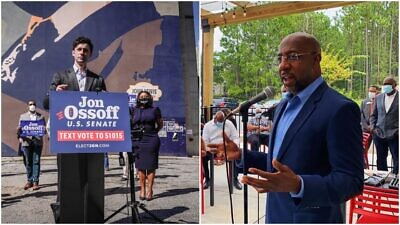 Democratic candidates for the U.S. Senate from the state of Georgia Jon Ossoff (left) and Rev. Raphael Warnock. Source: Facebook.