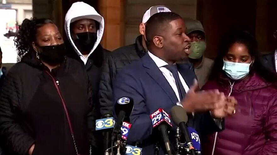 A lawyer for the family of Walter Wallace, Jr. speaks to reporters. Source: Screenshot.