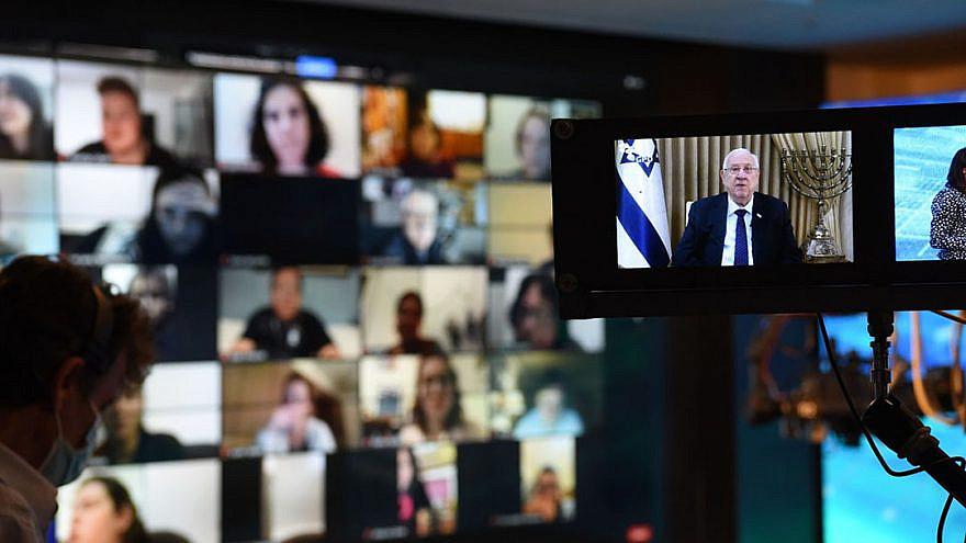 Participants in the International Jewish Media Summit listen to an address from Israeli President Reuven Rivlin, Dec. 7, 2020. Credit: Tzivia Katzman/GPO.