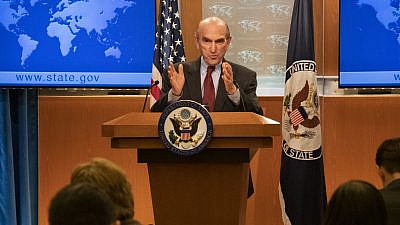 Elliott Abrams provides remarks and takes questions from the media at the U.S. Department of State in Washington, D.C., on March 8, 2019. Credit: State Department photo by Ron Przysucha.