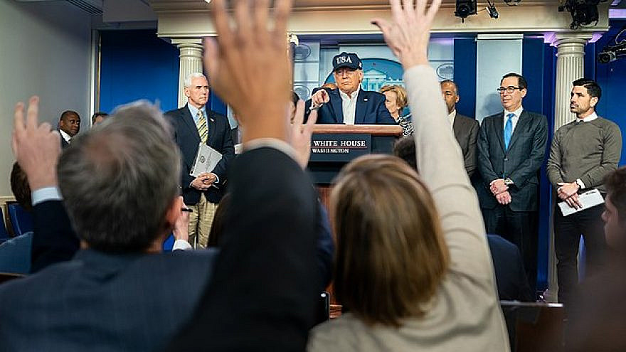 U.S. President Donald Trump takes questions from the press at a coronavirus update briefing at the White House on March 14, 2020. Credit: White House Photo by Shealah Craighead.