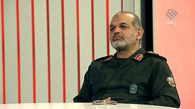 IRGC Brig. Gen. Ahmad Vahidi, who formerly served as Iran's Defense Minister and as commander of the IRGC's notorious Quds Force, is interviewed by Iran's Ofogh TV on Nov. 28, 2020. (MEMRI)