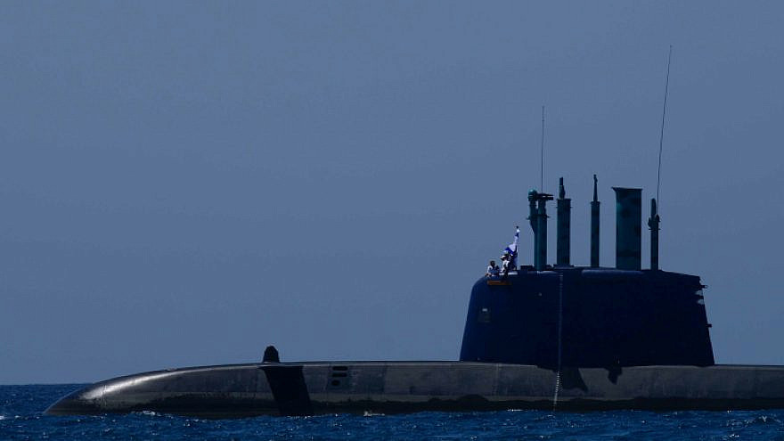 An Israeli Navy submarine at a marine show as part on Israel's 70th Independence Day celebrations, off the Tel Aviv coast on April 19, 2018. Photo by Tomer Neuberg/Flash90.