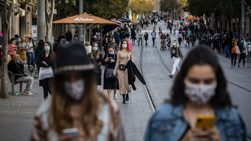 Downtown Jerusalem on Dec. 13, 2020. Photo by Olivier Fitoussi/Flash90.