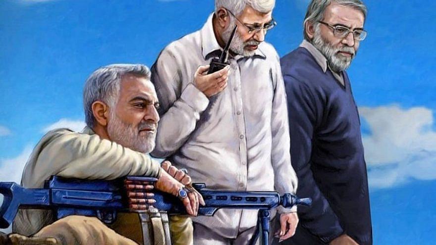 "A martyrs' ""summit meeting"": IRGC Quds Force commander Maj. Gen. Qassem Soleimani, Iraqi militia leader Abu Mahdi al-Muhandis and IRGC Brig. Gen. Mohsen Fakhrizadeh. Source: Iranian media."