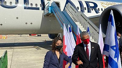 Israeli Tourism Minister Orit Farkash-Hacohen welcomes her Bahraini counterpart Zayed bin Rashid Al Zayani to Israel, at Ben-Gurion International Airport on Dec. 1, 2020. Credit: Israeli Tourism Ministry.