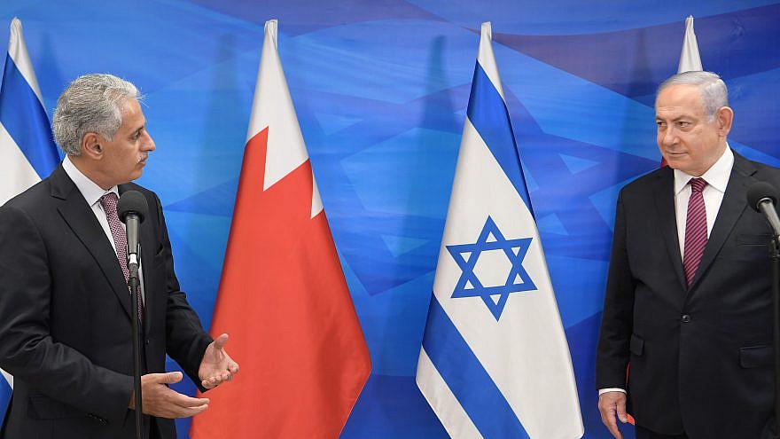 Israeli Prime Minister Benjamin Netanyahu meets with Bahraini Industry, Commerce and Tourism Minister Zayed bin Rashin Al Zayani in Israel on Dec. 2, 2020. Photo by Amos Ben-Gershom/GPO.