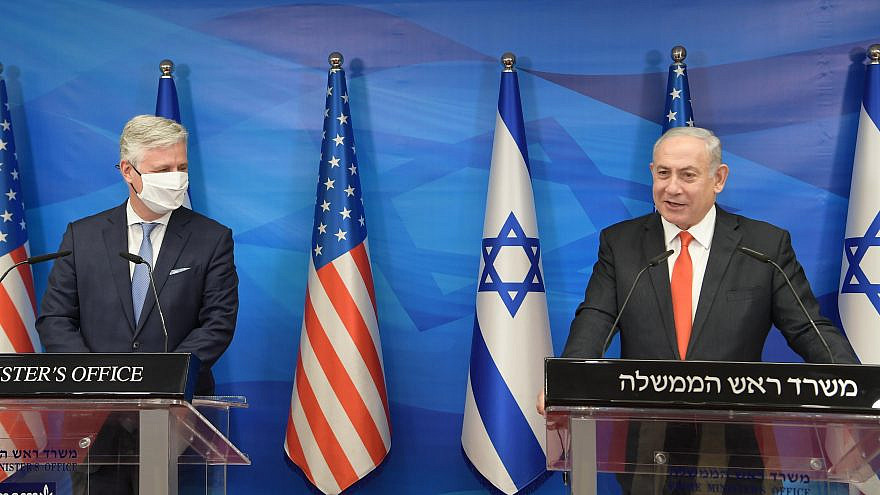 U.S. National Security Advisor Robert O'Brien and Israeli Prime Minister Benjamin Netanyahu at a joint press conference in Jerusalem on Dec. 13, 2020. Credit: Amos Ben-Gershom/GPO.