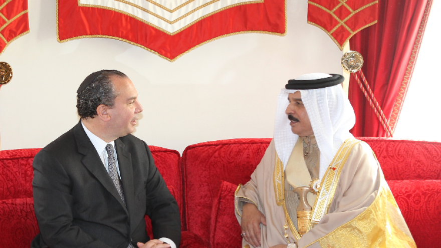 Rabbi Marc Schneier with King Hamad Bin Isa Al Khalifa of Bahrain on an earlier trip to the Kingdom