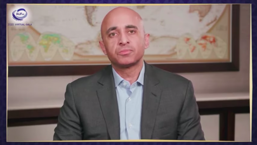 United Arab Emirates Ambassador to the United States Yousef Al Otaiba speaks at the Iranian American Jewish Federation's 2020 virtual gala on Dec. 6, 2020. Source: Screenshot.