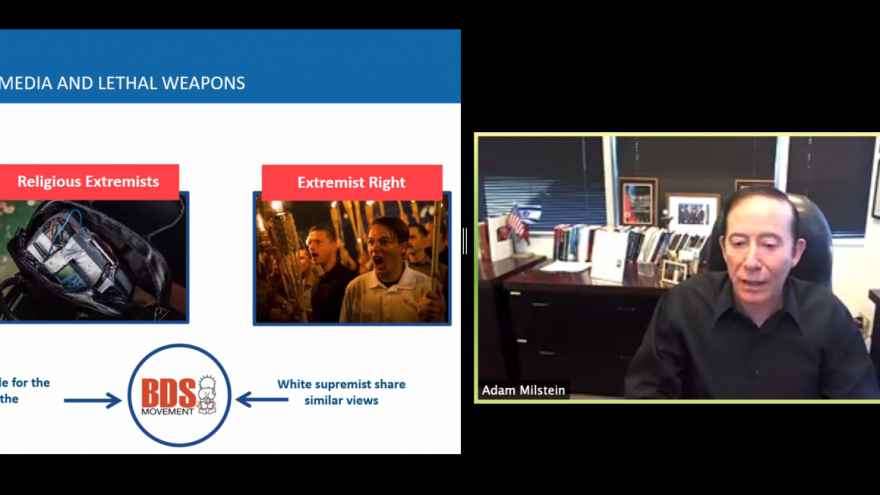 Philanthropist, real estate developer and Jewish communal activist Adam Milstein on a webinar about anti-Semitism and Jew-hatred, hosted by the Los Angeles Holocaust Museum, Dec. 16, 2020. Source: Screenshot.
