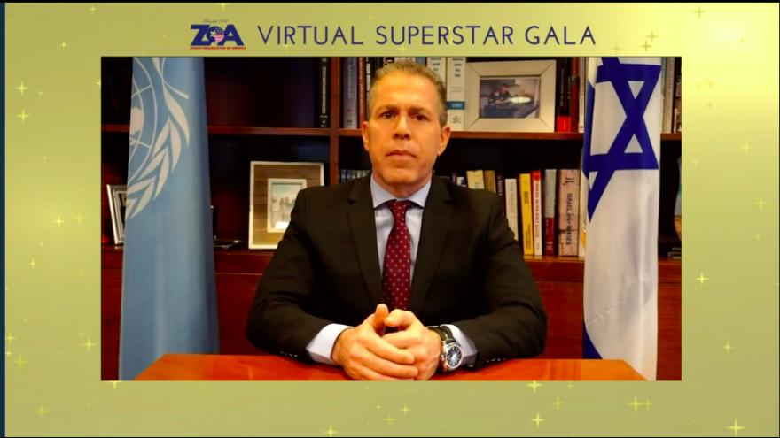 Israel's Ambassador to the United Nations Gilad Erdan addresses the Zionist Organization of America's Virtual Superstar Gala. Source: Screenshot.