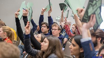The 47th World Union for Jewish Students Congress is taking place through a series of online events from Dec. 27 through Dec. 31, 2020, unlike previous years (pictured) where it was held in person. Credit: Courtesy.