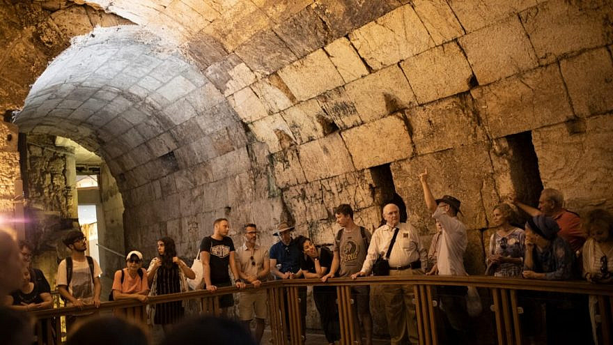 Visitors tour the underground Western Wall tunnels in Jerusalem's Old City. Photo by Hadas Parush/Flash90.