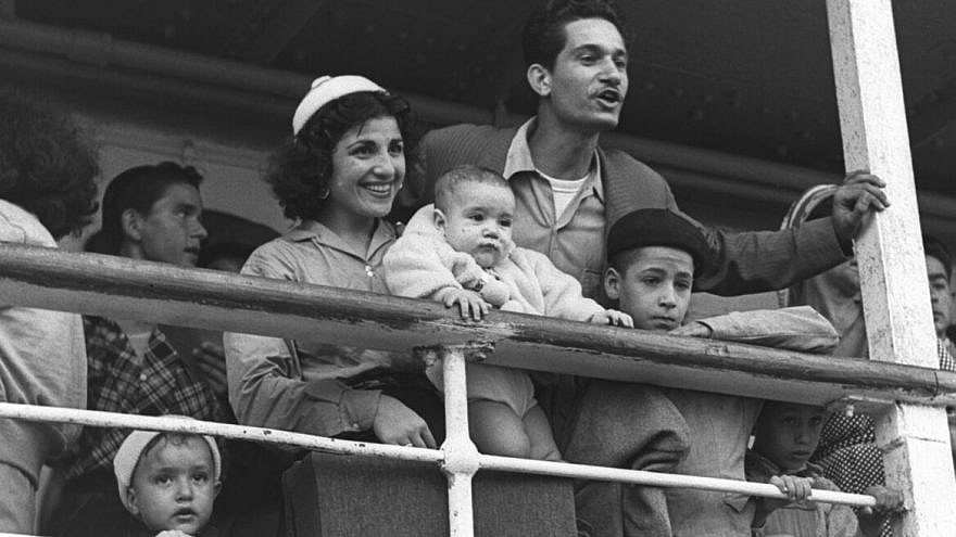 Moroccan Jewish immigrants landing at the Haifa port in 1954. Photo by Fritz Cohen/GPO.