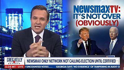 Newsmax prime-time host Greg Kelly. Source: Screenshot.