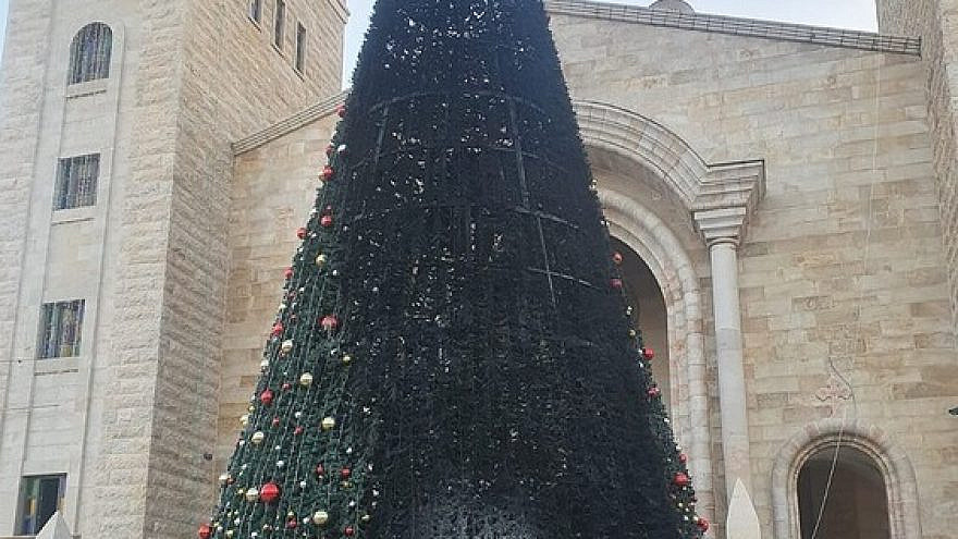 One of the Christmas trees in Sakhnin that was set on fire over the weekend of Dec. 26-27, 2020. Credit: Courtesy.