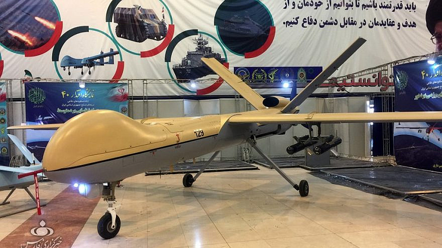 "An Iranian ""Shahed 129"" unmanned aerial vehicle at the Eqtedar 40 defense exhibition in Tehran, Jan. 30, 2019. Credit: Fars News via Wikimedia Commons."