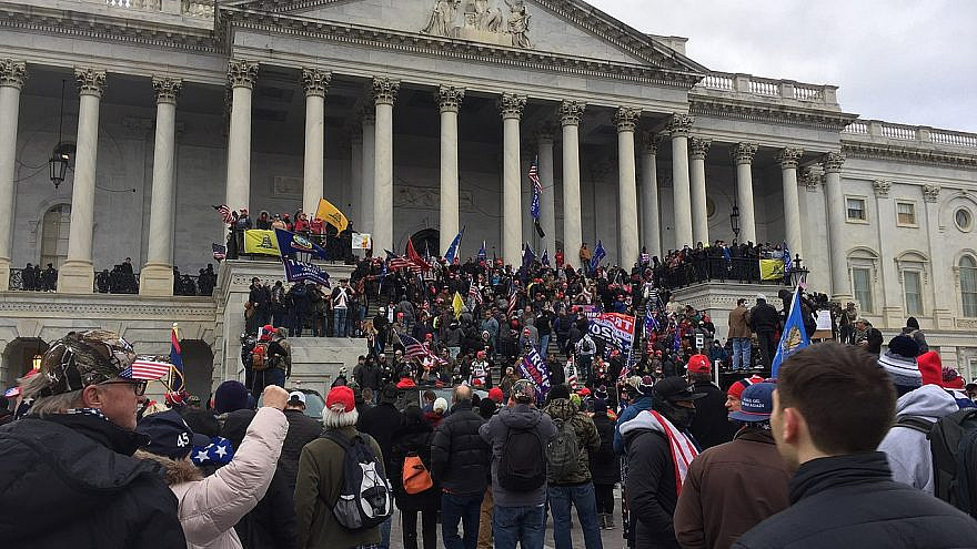 Supporters of President Donald Trump at the U.S. Capitol, where hundreds smashed windows and broke into the building while protesting the results of the November elections, Jan. 6, 2021. Credit: Wikimedia Commons.