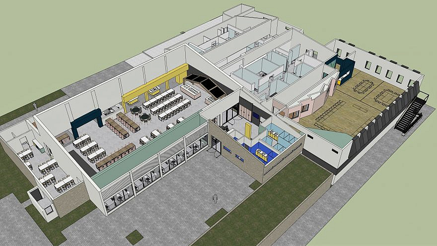 Artist rendering of ORT dining facilities and kitchen complex to be built at the Kfar Silver Youth Village near Ashkelon and the Israeli border with Gaza. Credit: Courtesy.