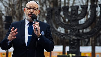 Israeli Ambassador to Ukraine Joel Lyon at a ceremony in Kyiv recalling the Babi Yar massacre and International Holocaust Remembrance Day, Jan. 27, 2021. Photo by Olga Zakrevskaya.