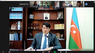 A virtual Kabbalat Shabbat service with the Jewish community in Baku, Azerbaijan. Source: Screenshot.