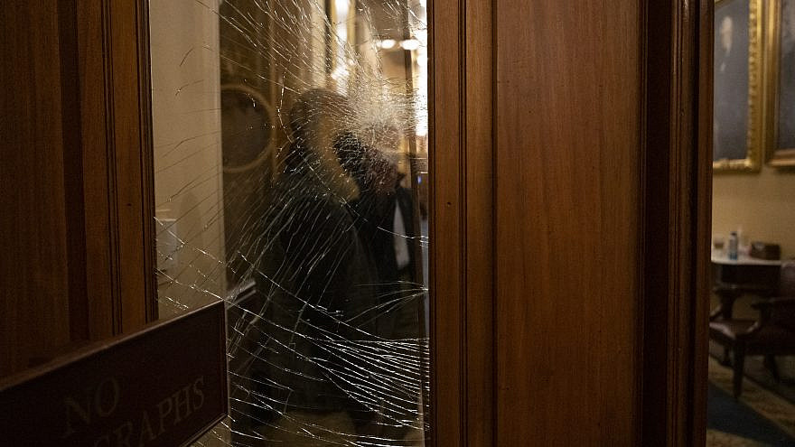 A damaged window in one of the rooms in the U.S. Capitol after it was stormed by supporters of President Donald Trump on Jan. 6, 2020. Credit: U.S. Department of Homeland Security (DHS).