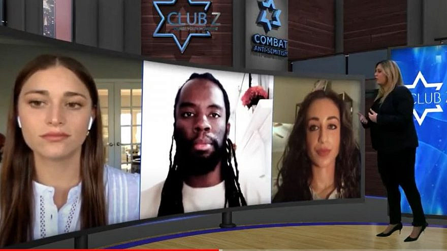 The activist panel at the online Club Z national summit held online in partnership with the Combat Anti-Semitism movement. From left are: Adela Cojab, Joshua Washington and Julia Jassey, January 2021. Credit: Courtesy.