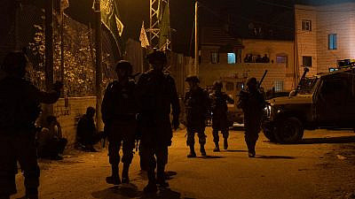 Israeli forces conduct an arrest operation in the Palestinian village of Deir Nidham in Judea and Samaria on Jan 3, 2021. Credit: Israel Defense Forces.