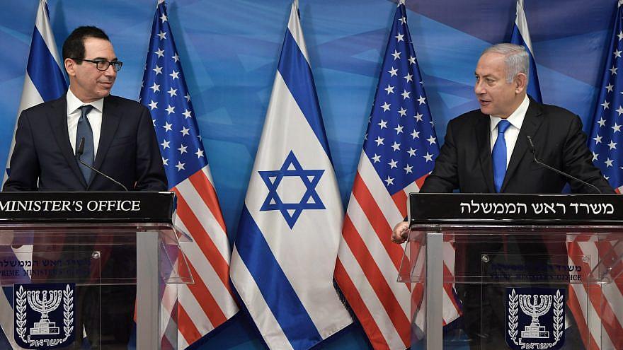 Israeli Prime Minister Benjamin Netanyahu with U.S. Secretary of State Steve Mnuchin in Jerusalem on Jan. 7, 2020. Credit: GPO.