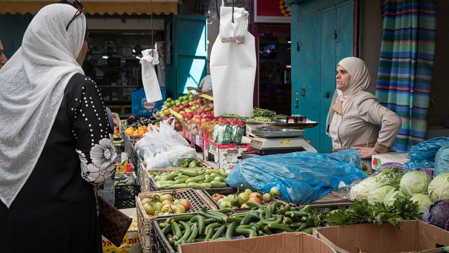 Arab Israelis at the market in the Old City of Acre on April 28, 2017. Photo by Nati Shohat/Flash90.