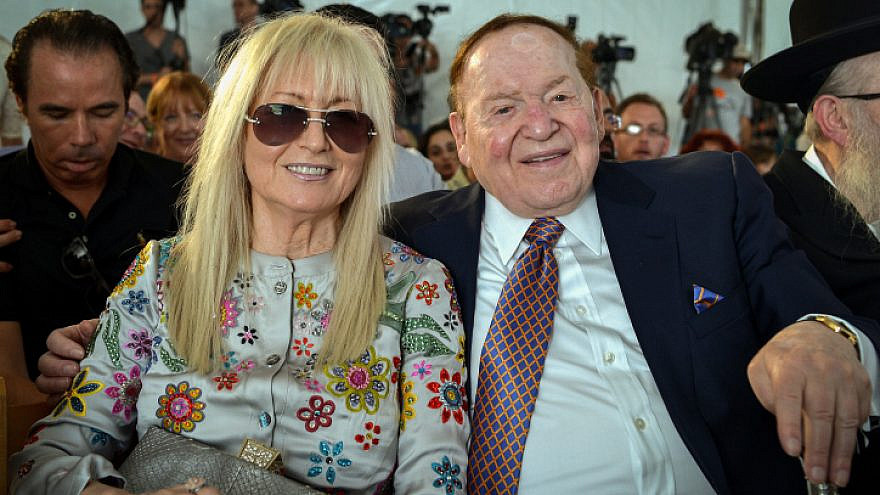 American businessman and investor Sheldon Adelson and his wife at the ceremony of a laying of a cornerstone for new Medicine Faculty buildings at the Ariel University in the West Bank, on June 28, 2017. Photo by Ben Dori/Flash90