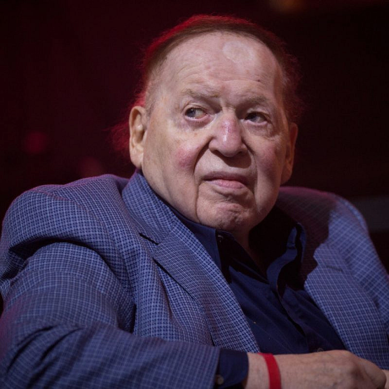 American business magnate Sheldon Adelson attends an American Independence Day celebration at Avenue in Airport City, on July 3, 2018. Photo by Miriam Alster/Flash90