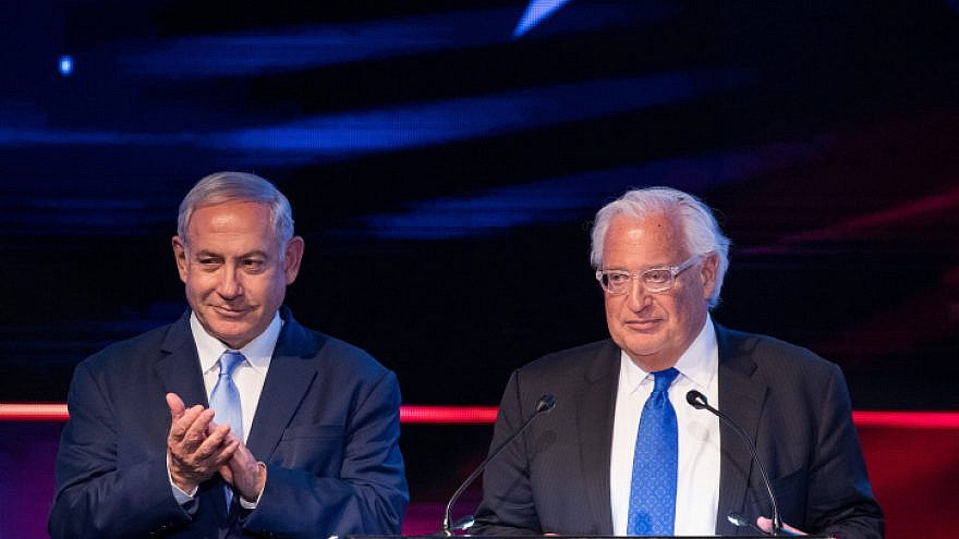 U.S. Ambassador to Israel David Friedman and Israeli Prime Minister Benjamin Netanyahu mark one year since the transfer of the U.S. embassy from Tel Aviv to Jerusalem on May 14, 2019. Photo by Yonatan Sindel/Flash90.